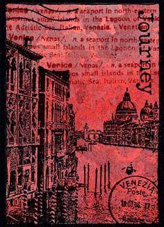 ATC by Godelieve Tijskens using Darkroom Door 'Venetian Vol 1' Rubber Stamps http://www.darkroomdoor.com/rubber-stamp-sets/rubber-stamp-set-venetian-vol-1