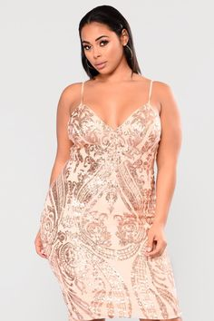 Ashe Sequin Dress - Rose Gold – Fashion Nova Gold Plus Size Dresses, Plus Size Cocktail Dresses, Plus Dresses, Girls Dresses, Rose Gold Party Dress, Gold Dress, Sequin Midi Dress, Curvy Fashion, Gold Fashion