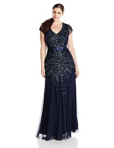 Adrianna Papell Women's Plus-Size Short Sleeve V Neck Beaded Gown, Midnight Blue, 16W Adrianna Papell http://www.amazon.com/dp/B0112OONQY/ref=cm_sw_r_pi_dp_.Sq3vb0KGEXQQ