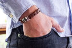Leather bracelet with silver tone magnetic clasp