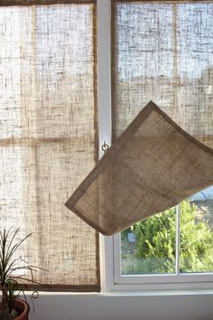 Burlap Window Treatments, Unique Window Treatments, Bathroom Window Treatments, Bathroom Windows, Burlap Curtains, Curtains With Blinds, Window Curtains, Roman Blinds, Sewing Curtains