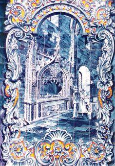 Azulejaria do Mercado Municipal representando o Sarcófago de D. Duarte de Menezes na Igreja de São João de Alporão (Séc. XV), Santarém, Portugal.