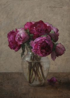 Michael Klein, oil, Pink peonies #wow #color #art