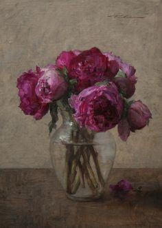 Michael Klein, oil, pink_peonies