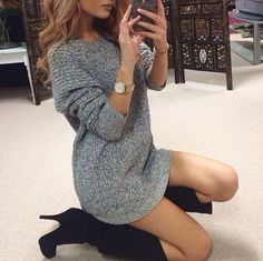Black boots, grey sweater, outfit, high heels, hair, winter outfit