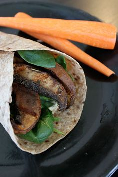Grilled Portabello and Hummus Wrap.  Looks good, however, I will be replacing the honey with either brown rice or maple syrup to make it 100% vegan
