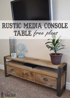 Woodworking Tools Joinery Reclaimed lumber makes the coolest projects. Free plans to build a unique rustic media console table.Woodworking Tools Joinery Reclaimed lumber makes the coolest projects. Free plans to build a unique rustic media console table. Diy Rustic Decor, Modern Decor, Diy Home Decor, Farmhouse Decor, Furniture Projects, Diy Furniture, Wood Projects, Furniture Makers, Building Furniture