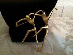 Vtg AJC Matte Gold Tone Beautiful Contemporary Dancers Brooch | eBay
