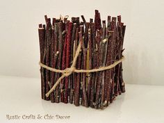 crafts with branches, crafts, home decor, I used small sections to adhere to a square glass votive holder to a rustic candle holder