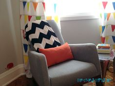 Chevron throw on the Joya Rocker adds a stylish touch and is perfect for cool evenings ahead. Project Nursery - Girls Striped Eclectic Nursery Glider
