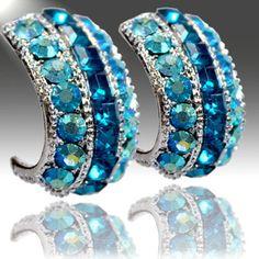 WESTERN COWGIRL JEWELRY BLUE CRYSTAL BLING RHINESTONE EARRINGS