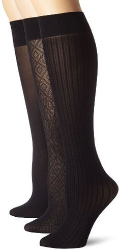 Nine West Women's Argyle Solid And Cable Trouser 3 Pair Sock - List price: $14.00 Price: $9.97 Saving: $4.03 (29%)  #NineWest
