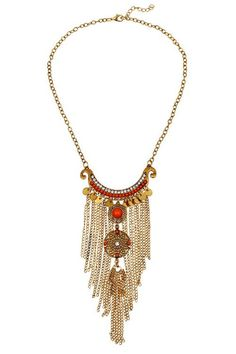 Round Pieces Link Chain Tassel Necklace