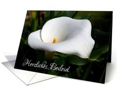 Personalize any greeting card for no additional cost! Cards are shipped the Next Business Day. Product ID: 561013 Sympathy Cards, Greeting Cards, Condolences, German, Lily, Deutsch, German Language, Orchids, Lilies