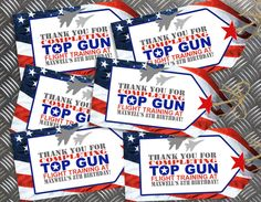 Top Gun Thank You Tags. Editable & Printable INSTANT DOWNLOAD Sassaby Parties Printable Birthday Party Online Invitations and Decorations.