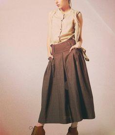 Long Linen Skirt in Brown / Ruffle Skirt / Maxi Skirt  -Custom. $59.00