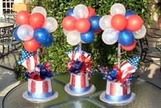 Patriotic balloon centerpieces - Replace hats with Coffee Cans and decorate cans with ribbon and name of Eagle Scout...