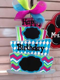 Birthday Cake Wooden Door Hanger by TiffanysCraftE on Etsy