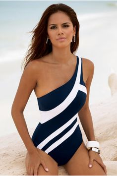 Oh it's so pretty!!! navy or dark blue and white bathing suit.