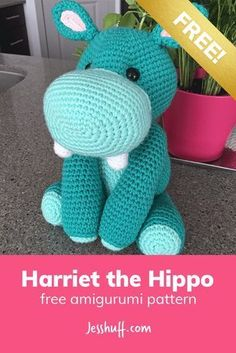 Crochet Toys Patterns Harriet the Hippo Free Amigurumi Pattern - Harriet is a bit bashful and awkward, which only adds to her charm! Her floppy limbs and adorable buck teeth warm the hearts of everyone she encounters. Crochet Hippo, Crochet Diy, Crochet Amigurumi Free Patterns, Crochet Animal Patterns, Stuffed Animal Patterns, Crochet Animals, Crochet Crafts, Crochet Dolls, Crochet Projects