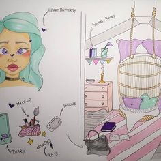 ⭐️Look inside ⭐️ I need a name for her starting with the letter T... #sketching #lookinside #room #comic #oc #pastel #girlsroom #girlythings #cute #whatsinmybag #whatsinmyroom #tertunnislookinside