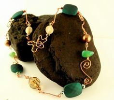 Hand crafted copper wire and bead necklace £23