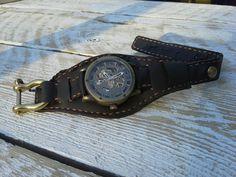 Custom design handmade steam punk inspired leather and brass watch strap
