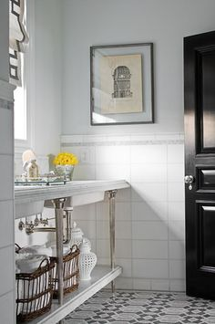 Bathroom design photos, ideas and inspiration. Amazing gallery of interior design and decorating ideas of bathrooms by elite interior designers - Page 10 Blue Grey Walls, White Wall Tiles, Bathroom Floor Tiles, Tile Floor, Mosaic Floors, Downstairs Bathroom, Master Bathroom, Black Doors, Bathroom Inspiration
