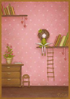 Reading Girl © Paúha (Artist. Origin unknown). Bookshelves, Rope Ladder, Books