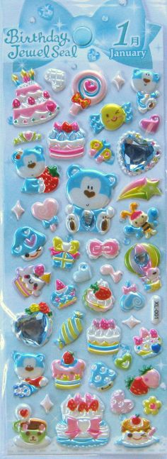 January 3D Puffy Birthday Jewel Stickers