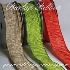 Now this is way cool - burlap doesnt have to be neutral! Wired Burlap Ribbon - Perfect for rustic or vintage wedding. Fun type of ribbon. Black Wedding Themes, Vintage Wedding Theme, Chic Wedding, Rustic Wedding, Our Wedding, Vintage Weddings, Green Wedding, Burlap Ribbon, Ribbon Crafts