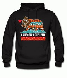 California Republic Indian Native American Theme Hoodie Sweatshirt for Adults