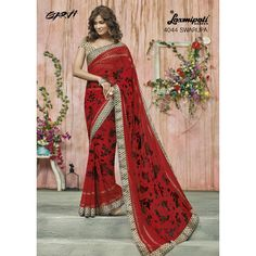 Shop for Georgette Saree in Red & Black with with an un-stitched, Brocade blouse in Beige on ‪#‎Laxmipatisarees‬. E-mail : info@laxmipati.com Mobile no : (+91) 93760 14032 (Call or Whatsapp)