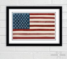 American Flag Textured Collage  Fine Art by TheCuriousNickel, $28.00