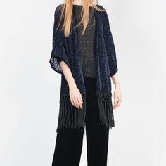 Zara Kimono with Fringing - Navy Blue New without Tags Zara Flocked Kimono with Fringing in Navy Blue. Accepting offers. Zara Jackets & Coats