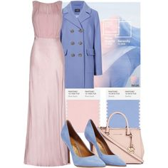 // COLOR OF THE YEAR // PANTONE 2016 // ROSE QUARTZ & SERENITY // by letlove on Polyvore featuring moda, Ghost, M&S Collection, Salvatore Ferragamo, Michael Kors, women's clothing, women's fashion, women, female and woman