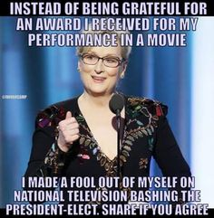 Yep Just let these liberals run their mouths and they'll always show their 🤢😷ignorance don't go see their movies they are trite and derivative Liberal Democrats, Liberal Logic, Politicians, Meryl Streep, Truth Hurts, It Hurts, Conservative Politics, Stupid People, Dumb And Dumber