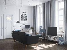 скандинавский дизайн в интерьере гостиной