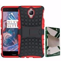 One Plus 3T Case, DMG Rugged Hard Armor Hybrid Bumper Kickstand Back Case Cover for One Plus 3T (Red) // Hybrid Armor
