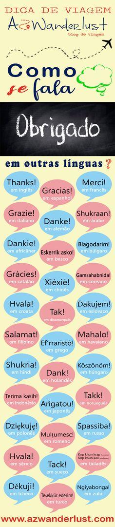 Dica de viagem AzWanderlust: como se fala OBRIGADO em outras línguas? inglês, espanhol, francês, italiano, árabe, africâner, basco, búlgaro, catalão, chinês, coreano, croata,dinamarquês, eslovaco,filipino, grego, havaiano, hindi, holandês, húngaro, indonésio, japonês, norueguês,polonês, romeno, russo, sérvio, sueco, tailandês, tcheco, turco, zulu.