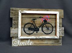 Bright Hand painted Daisies of antique bike, Wall art, barn wood, Distressed Reclaimed Wood Pallet Art, Rustic & Shabby Chic Summer porch