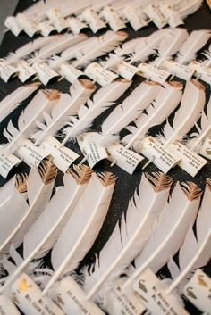 Gold-Dipped White Feather Escort Cards | The Nichols https://www.theknot.com/marketplace/the-nichols-austin-tx-324559 | W Austin Hotel | Your Wedding, Your Way https://www.theknot.com/marketplace/your-wedding-your-way-austin-tx-334375