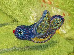 Купить Брошь валяная войлочная из шерсти Волшебная Синяя Птица - синий, брошь, брошь из войлока
