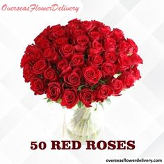 50 Red Roses. Vase is not included. Flower vase can be purchased separately. #redroses #roses #flowers #overseasflowers #gift #surprise Flower Vases, Roses Vase, Flowers, Flower Delivery Service, Red Roses, Raspberry, Gifts, Presents, Vase