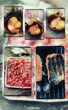 Łosoś z grilla w czerwonej papryce z grillowanymi pomidorkami i jogurtem greckim
