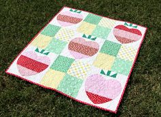 The Laura Quilt from the book Fat Quarter Baby, made with Apple Farm fabrics! Quilting Tutorials, Sewing Tutorials, Sewing Projects, Quilting Ideas, Baby Girl Quilts, Girls Quilts, Quilt Kits, Quilt Blocks, Apple Farm
