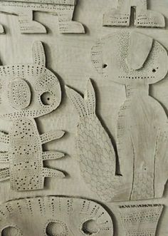 Steen Drabik - cut out paper works diy=cardboard shapes on canvas painted and stiched Cardboard Sculpture, Cardboard Crafts, Sculpture Art, Paper Crafts, Cardboard Relief, Diy Crafts, Middle School Art, Art School, Paper Cutting