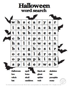halloween worksheets - Halloween Word Searches For Kids