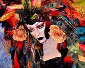 MADE TO ORDER peacock fantasy Headdress Headpeice show girl wig avant garde feathers mermaid fairy fae costume