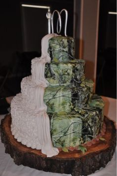 Camo cake. Half bridal cake half grooms cake... Be super cute if one side was pink real tree camo and the other side original or snow real tree camo